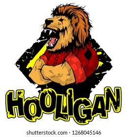 print on T-shirt hooligan with a lion image.