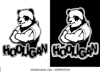 "print on T-shirt ""hooligan"" with a panda image"