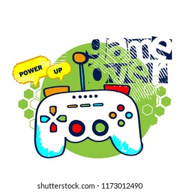 Print on t-shirt with joystick game over. For textile, clothes, fabric. card, massage, web, backpack, wallpaper.