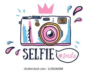 Print on a t-shirt with photo camera selfie smile. Print for clothes, textile, fabric, web, card, wallpaper.