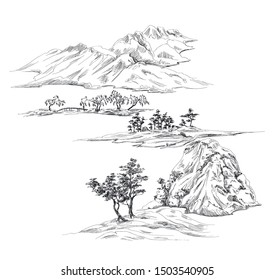 Print with oriental mountains and trees and hills in toile de jouy stile in black and white graphic