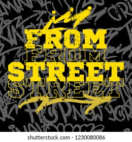 Print with pattern with graffitis bombing street vandal tags on wall made of aerosol paint spray. Design fonts lettering underground style for print t shirt poster canvas banner sticker cover single.