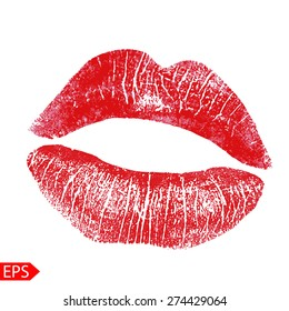 Print of pink lips. Vector illustration on a white background. EPS