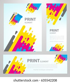 Print polygraphy cmyk element. Stripes colored liquid. Set flyer, banner, roll up banner, brochure size A4 template.