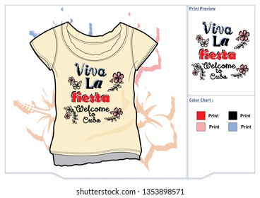 Print or poster for Viva La Fiesta, welcome to cuba with nice and creative design illustration.