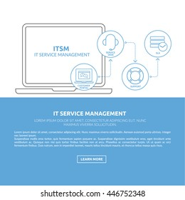 Print ready and web concept illustration and background with light blue IT service management process outline icons for ITIL, ITSM and DevOps teams