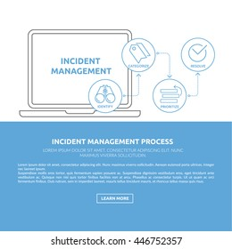 Print ready and web concept illustration and background with light blue incident management process outline icons for ITIL, ITSM and DevOps teams