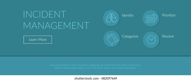 Print ready and web concept illustration and background with light blue incident management process outline icons for ITIL, ITSM and DevOps teams in material design style