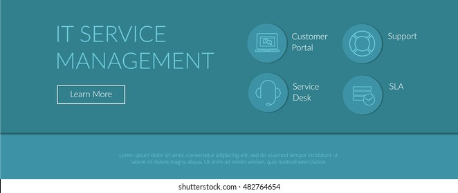 Print ready and web concept illustration and background with IT service management process outline icons for ITIL, ITSM and DevOps teams in material design style