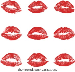 Print of red lips set. World kiss day, Valentine's day design elements. Vector illustration of womans girl red lipstick kiss mark isolated on white background.
