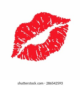 Print of red lips. Vector illustration.