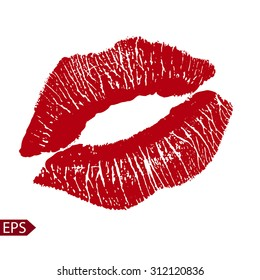 Print of red lips. Vector illustration on a white background.