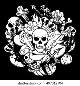 Print with retro tattoo symbols. Cartoon old school illustration.