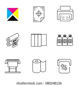 Print Shop and Digital Printing Icon Set