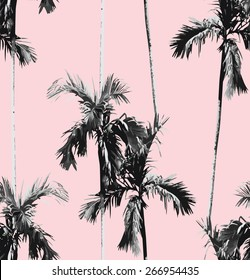 Print summer seamless vector pattern with tropic banana palm tree. Exotic pink background. trendy black and white floral wallpaper.