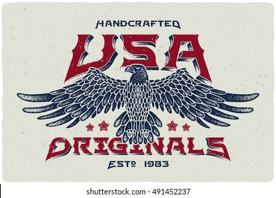 "Print for t-shirt with bald eagle illustration and text ""Handcrafted USA Originals"""