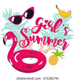Print for T-shirt or card girl's  summer. With inflatable flamingo curtain, glasses, palm leaves, anans and banana