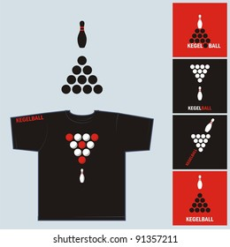 Print for T-shirt «Kegelball». The comic image to be printed on T-shirts.