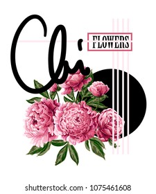 Print for t-shirt or poster with pink peonies and slogan. Delicate fashion illustration.