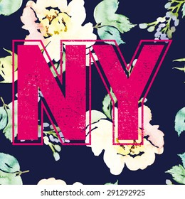 Print for T-shirt. Seamless pattern. Watercolor background. Flowers. NY