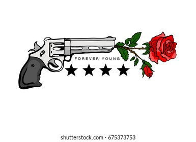 Print for T-shirts with gun and rose. Vector illustration.