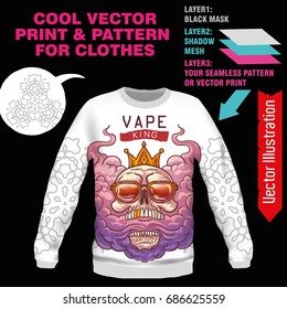Print Vape KING, swag. Vector layout, sublimation print for printing on clothes, sweatshirts, tshirts, tank top. Vector illustration for sublimation, silkscreen, thermal transfer. Online constructor