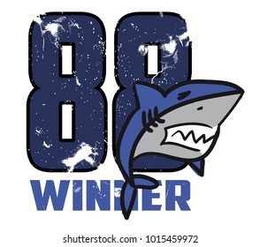 Print version for T-shirt 88 winner with a shark.