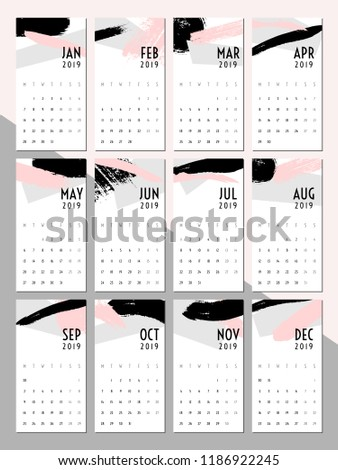 Printable 2019 Calendar Template Abstract Design Stock Vector