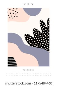 Printable A4 size February 2019 calendar template. Collage style design with abstract and organic shapes in pastel pink, lavender purple, black and white.