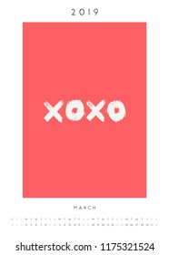 """Printable A4 size March 2019 calendar template. Hand drawn symbols, meaning """"kisses"""" in white and red."""