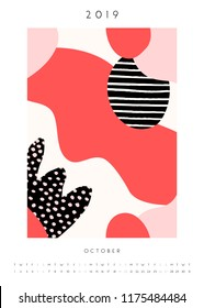 Printable A4 size October 2019 calendar template. Collage style design with abstract and organic shapes in pastel pink, red, black and white.