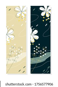 Printable abstract floral bookmark, tropical bookmark template in pastel colours.