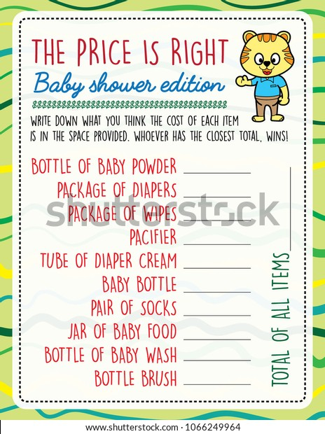 photograph regarding Price is Right Baby Shower Game Free Printable titled Printable Youngster Shower Video games Rate Instantly Inventory Vector