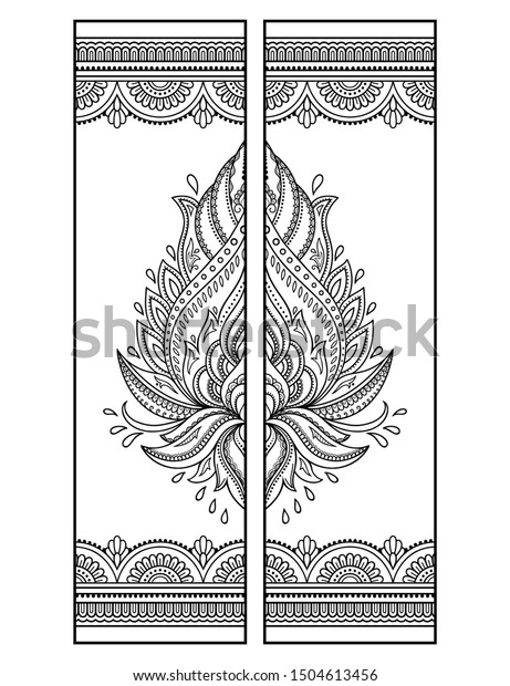 Printable Bookmark Coloring Set Black White Stock Vector ...