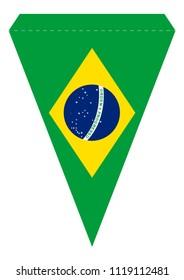 printable brazil party banner triangular pennant stock vector