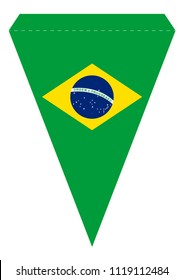 Printable Brazil Party Banner Triangular Pennant Vector Template. Official Brazilian Flag Colors. Ready to Print or Laser Cut or Die Cut. A4 / US Letter Size Format. Horizontal Lozenge.