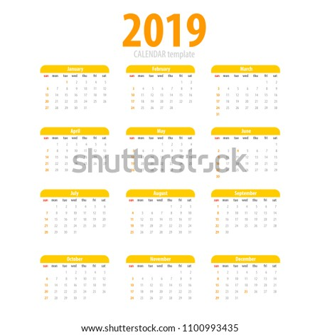 printable calendar 2019 simple template yellow pig colors eastern new year year month