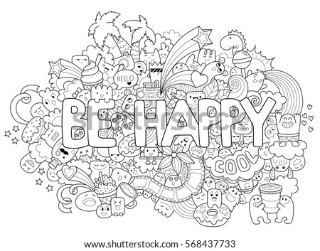 Printable Coloring Page For Adults With Cartoon Characters Hand Drawn Vector Illustration Freehand Sketch