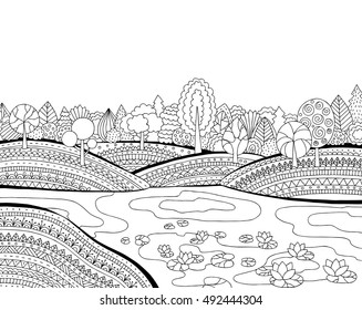 Printable coloring page for adults with landscape, lake, flower meadow, forest, trees. Hand drawn vector illustration. Freehand sketch for adult anti stress coloring book page with doodle and