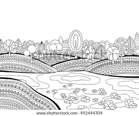 Printable Coloring Page For Adults With Landscape Lake Flower Meadow Forest Trees