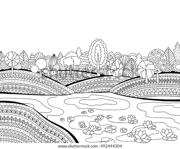 Printable Coloring Page Adults Landscape Lake Stock Vector ...