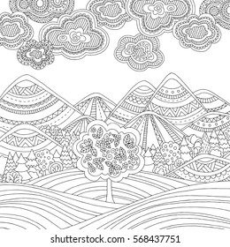 Printable coloring page for adults with mountain landscape, forest, trees, clouds. Hand drawn illustration. Freehand sketch for adult anti stress coloring book page with doodle and zentangle elements.