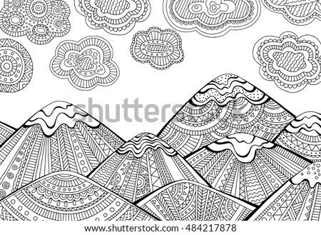 printable coloring page adults mountain landscape のベクター画像