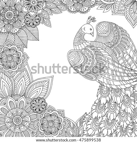 Printable Coloring Page For Adults With Peacock Leaves And Flowers Hand Drawn Vector Illustration
