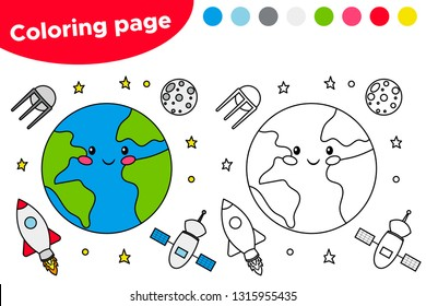 Printable coloring page with the earth, satellite, moon and rocket. Educational game for preschool kids. Space day. Kawaii cartoon character. Vector illustration.