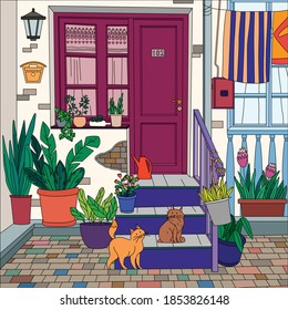 Printable coloring page for kids adults with house entrance front porch steps cats plants vector illustration
