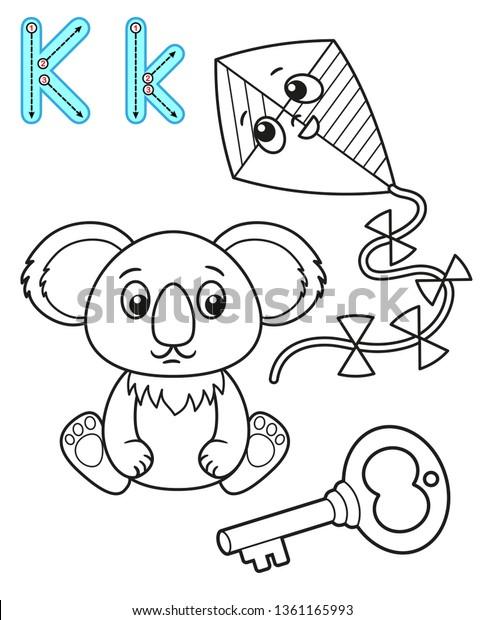 Printable Coloring Page Kindergarten Preschool Card Stock Vector