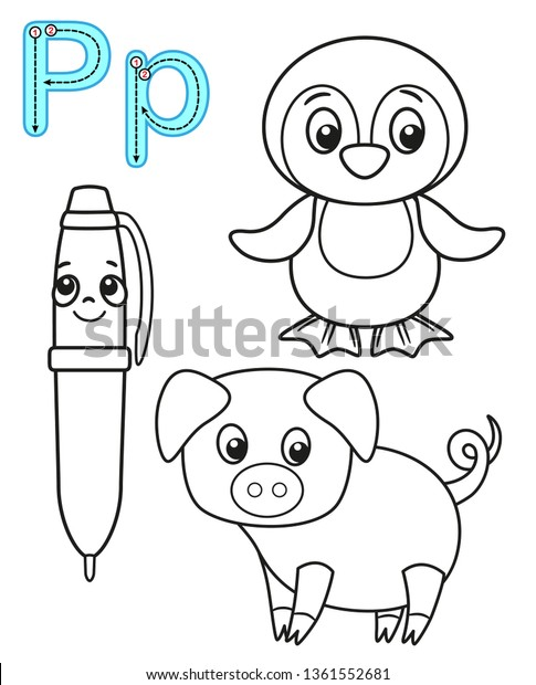 Printable Coloring Page Kindergarten Preschool Card Stock Vector