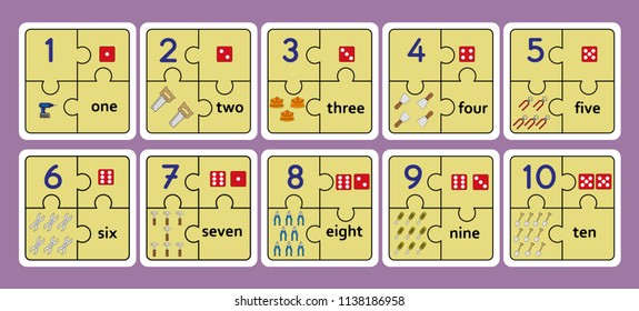 Printable counting puzzles, number strip puzzle work tools puzzle, counting numbers 1 10 game for kids