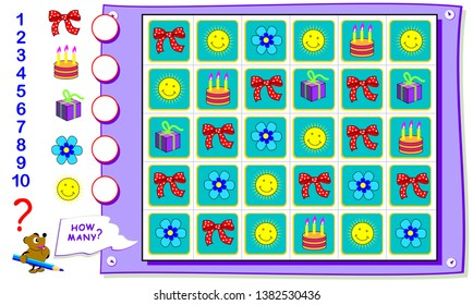 Printable educational page for kids. Count the quantity of objects and  write the numbers in circles. Worksheet for baby book. Logical puzzle game. Back to school.